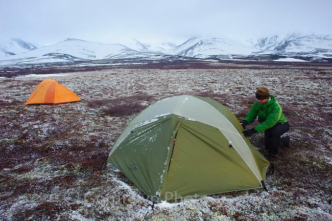 Cornell Lab of Ornithology videographer, Ben Clock, tundra camping. Seward Peninsula, Alaska. May.