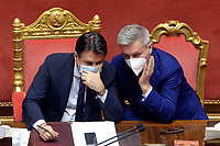 The Italian Premier Giuseppe Conte and the Minister of Defense Lorenzo Guerini during the information at the Senate about the government crisis.<br /> Rome(Italy), January 19th 2021<br /> Photo Pool Stefano Carofei/Insidefoto