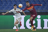 Ze Carlos of SC Braga and Leonardo Spinazzola of AS Roma compete for the ball during the Europa League round of 32 2nd leg football match between AS Roma and Braga at stadio Olimpico in Rome (Italy), February, 25th, 2021. Photo Andrea Staccioli / Insidefoto