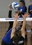 Marymount University's Christine Gallart plays in college volleyball action at Goucher College in Towson, MD, on Saturday, Oct. 8, 2011..Photo by Cathleen Aliison