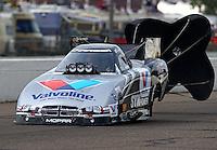 Aug 16, 2014; Brainerd, MN, USA; NHRA funny car driver Jack Beckman during qualifying for the Lucas Oil Nationals at Brainerd International Raceway. Mandatory Credit: Mark J. Rebilas-
