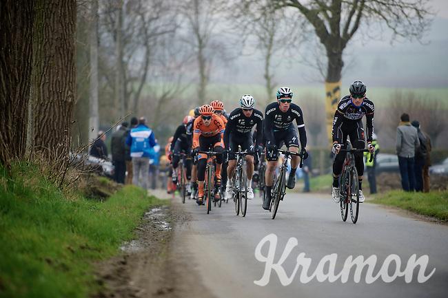peloton coming over the Ruidenberg led by Gaetan Bille (BEL/Verandas Willems) & Iljo Keisse (BEL/Etixx-QuickStep) piloting teammate (and race favorite) Gianni Meersman (BEL/Ettix-Quickstep)<br /> <br /> Handzame Classic 2015