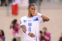 Jerry Bengtson (9) of Honduras celebrates scoring a penalty kick. Honduras defeated Costa Rica on penalty kicks after playing to a 1-1 tie during a quarterfinal match of the 2011 CONCACAF Gold Cup at the New Meadowlands Stadium in East Rutherford, NJ, on June 18, 2011.