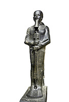 Ancient Egyptian statue of the god Ptah, granodiorite, New Kingdom, 18th Dynasty, (1390-1353 BC)Karnak. Egyptian Museum, Turin. white background,.<br /> <br /> The statue of the god Ptah is in the likeness of the reigning king Amenhotep III with a youthful almost feminine face, full cheeks, large smiling mouth and fleshy lips. The large almond shaped eyes are characteristic of the period as is the outline of the lips, Drovetti collection. Cat 86