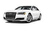 Stock pictures of low aggressive front three quarter view of 2015 Audi A8 4.0T NWB quattro Tiptronic 5 Door Sedan