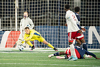 FOXBOROUGH, MA - OCTOBER 16: Keegan Meyer #50 of New England Revolution II saves a shot on goal during a game between North Texas SC and New England Revolution II at Gillette Stadium on October 16, 2020 in Foxborough, Massachusetts.