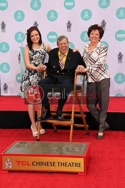 Danielle Sarah Lewis, Jerry Lewis, SanDee Pitnick<br /> at the Jerry Lewis Hand & Footprint Ceremony, TCL Chinese Theater, Hollywood, CA 04-12-14<br /> David Edwards/DailyCeleb.com 818-249-4998