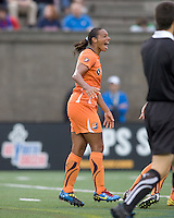 Sky Blue FC midfielder Rosana (11) celebrates 90+ penalty kick goal. Sky Blue FC defeated the Boston Breakers, 2-1, at Harvard Stadium on June 13, 2010.