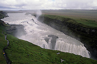 Gullfoss ('Golden Falls'), a powerful waterfall in the canyon of the Hvita river, Iceland.