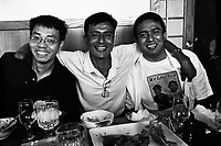 Left to right: Ye Maw Htoo, Myo Myint and his brother Ye Naing sit in a Burmese run Japanese restaurant in Fort Wayne, Indiana. Ye Maw Htoo and Myo Myint were political prisoners together in Burma, and Ye Maw Htoo is now married to Myo Myint and Ye Naing's sister, Thin Thin Aye. At 16 Myo joined the army of the ruling Burmese junta, where he lost his right forearm and lower leg whilst laying a mine. The blast also took away his left eye and most of the fingers on his left hand. It was while recovering from his injuries in hospital that Myo Myint made the life altering and dangerous decision to change sides. He joined the new democratic opposition, a choice that would lead to a total of 15 years spent in prison. The documentary 'Burma Soldier' follows Myo Myint's journey from refugee camp on the Thai-Burma border to eventually being re-united with his siblings in the United States, chronicling his transformation from a soldier of Burma's junta to democracy activist; from a political prisoner to a refugee in a foreign land.