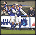 01/03/2003                   Copyright Pic : James Stewart.File Name : stewart-qots v falkirk 10.JOHN O'NEIL IS CONGRATULATED BY DEREK LYLE AFTER HE SCORED FROM THE PENALTY SPOT....James Stewart Photo Agency, 19 Carronlea Drive, Falkirk. FK2 8DN      Vat Reg No. 607 6932 25.Office     : +44 (0)1324 570906     .Mobile  : +44 (0)7721 416997.Fax         :  +44 (0)1324 570906.E-mail  :  jim@jspa.co.uk.If you require further information then contact Jim Stewart on any of the numbers above.........
