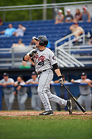 Tri-City ValleyCats designated hitter Jake Adams (48) bats during a game against the Batavia Muckdogs on July 16, 2017 at Dwyer Stadium in Batavia, New York.  Tri-City defeated Batavia 13-8.  (Mike Janes/Four Seam Images)
