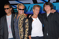 06 October 2020 - Eddie Van Halen, legendary Hall of Fame Guitarist and co-founder of Van Halen -- has died after a long battle with throat cancer at the age of 65. File Photo: 13 August 2007 - Beverly Hills, California - Alex Van Halen, David Lee Roth, Eddie Van Halen and son Wolfgang Van Halen. Van Halen and David Lee Roth Announce North American Tour at the Four Seasons Hotel. Photo Credit: Byron Purvis/AdMedia