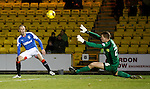 Kenny Miller dinks the ball over keeper Marc Maccallum as the ref blows for offside