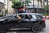 São Paulo (SP), 15/05/2021 - Protesto-SP - Carreata 73 Anos da Nakba. Saiu da frente do Al Janiah (Espaço político cultural arabe), na Av Rui Barbosa (Bixiga) e foi até a Praça Charles Miller, passando pela Av. Higienópolis.