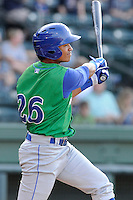 Center fielder Alfredo Escalera-Maldonado (26) of the Lexington Legends in a game against the Greenville Drive on Wednesday, June 4, 2014, at Fluor Field at the West End in Greenville, South Carolina. Lexington won, 9-3. (Tom Priddy/Four Seam Images)