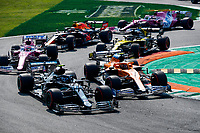 6th September 2020; Autodromo Nazionale Monza, Monza, Italy ; Formula 1 Grand Prix of Italy, Race Day;  Start, 77 Valtteri Bottas FIN, Mercedes-AMG Petronas Formula One Team pressed by 4 Lando Norris GBR, McLaren F1 Team