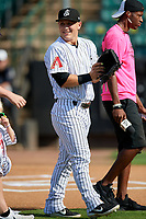 Jackson Generals catcher Daulton Varsho (5) before a Southern League game against the Mississippi Braves on July 23, 2019 at The Ballpark at Jackson in Jackson, Tennessee.  Jackson defeated Mississippi 2-0 in the first game of a doubleheader.  (Mike Janes/Four Seam Images)