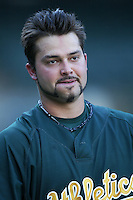 Nick Swisher of the Oakland Athletics during batting practice before a game from the 2007 season at Angel Stadium in Anaheim, California. (Larry Goren/Four Seam Images)