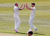 Darren Stevens (L) of Kent is congratulated by Matt Milnes after taking the wicket of Duanna Olivier during Kent CCC vs Yorkshire CCC, LV Insurance County Championship Group 3 Cricket at The Spitfire Ground on 16th April 2021