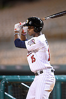 Glendale Desert Dogs outfielder Byron Buxton (15), of the Minnesota Twins organization, during an Arizona Fall League game against the Peoria Javelinas on October 14, 2013 at Camelback Ranch Stadium in Glendale, Arizona.  Glendale defeated Peoria 5-1.  (Mike Janes/Four Seam Images)