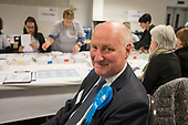 Conservative council leader Richard Cornelius.  London Borough of Barnet local election count.