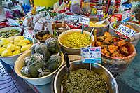 Bangkok, Thailand.  Food Vendor's Stand in the Chinese Food Market, Chinatown.