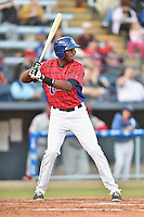 Asheville Tourists first baseman Correlle Prime #32 awaits a pitch during a game against the Lakewood BlueClaws at McCormick Field on May 2, 2014 in Asheville, North Carolina. The Tourists defeated the BlueClaws 14-3. (Tony Farlow/Four Seam Images)