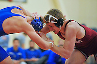 24 January 2008: Luke Feist defeats Jason Points (blue) during Stanford's 22-16 win over Cal State Bakersfield at the Ford Center in Stanford, CA.