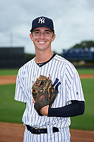 GCL Yankees East pitcher Aaron McGarity (21) poses for a photo after the first game of a doubleheader against the GCL Blue Jays on July 24, 2017 at the Yankees Minor League Complex in Tampa, Florida.  GCL Blue Jays defeated the GCL Yankees East 6-3 in a game that originally started on July 8th.  (Mike Janes/Four Seam Images)