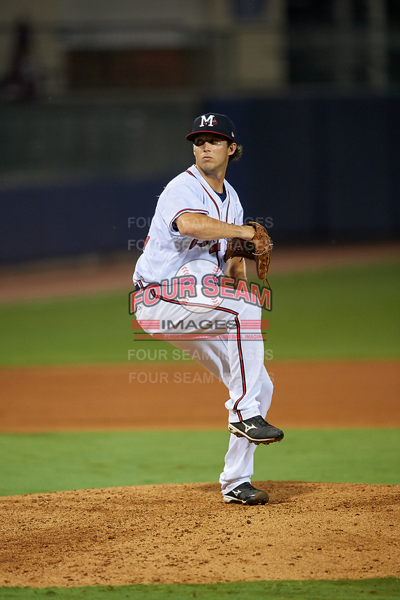 Mississippi Braves relief pitcher Tyler Pike (32) delivers a pitch during a game against the Mobile BayBears on May 7, 2018 at Trustmark park in Pearl, Mississippi.  Mobile defeated Mississippi 5-0.  (Mike Janes/Four Seam Images)