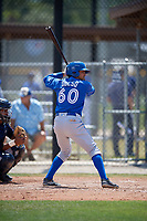 Toronto Blue Jays designated hitter Norberto Obeso (60) at bat during a minor league Spring Training game against the New York Yankees on March 30, 2017 at the Englebert Complex in Dunedin, Florida.  (Mike Janes/Four Seam Images)
