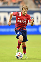 KANSAS CITY, KS - JULY 31: Paxton Pomykal #19 FC Dallas with the ball during a game between FC Dallas and Sporting Kansas City at Children's Mercy Park on July 31, 2021 in Kansas City, Kansas.