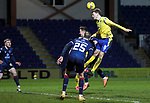Ross County v St Johnstone…02.01.21   Global Energy Stadium     SPFL<br />Murray Davidson can't get his head to this cross<br />Picture by Graeme Hart.<br />Copyright Perthshire Picture Agency<br />Tel: 01738 623350  Mobile: 07990 594431