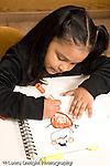 Education preschoool children ages 3-5 art activity girl drawing human figure vertical