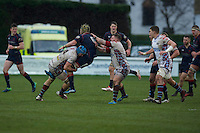 Danny Kenny of London Scottish Football Club takes a big hit from Toby Salmon of Rotherham Titans during the Greene King IPA Championship match between London Scottish Football Club and Rotherham Titans at Richmond Athletic Ground, Richmond, United Kingdom on 1 January 2017. Photo by Alan  Stanford.