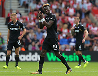 Tammy Abraham of Swansea City thanks away supprters as he walks off the pitch during the Premier League match between Southampton and Swansea City at the St Mary's Stadium, Southampton, England, UK. Saturday 12 August 2017