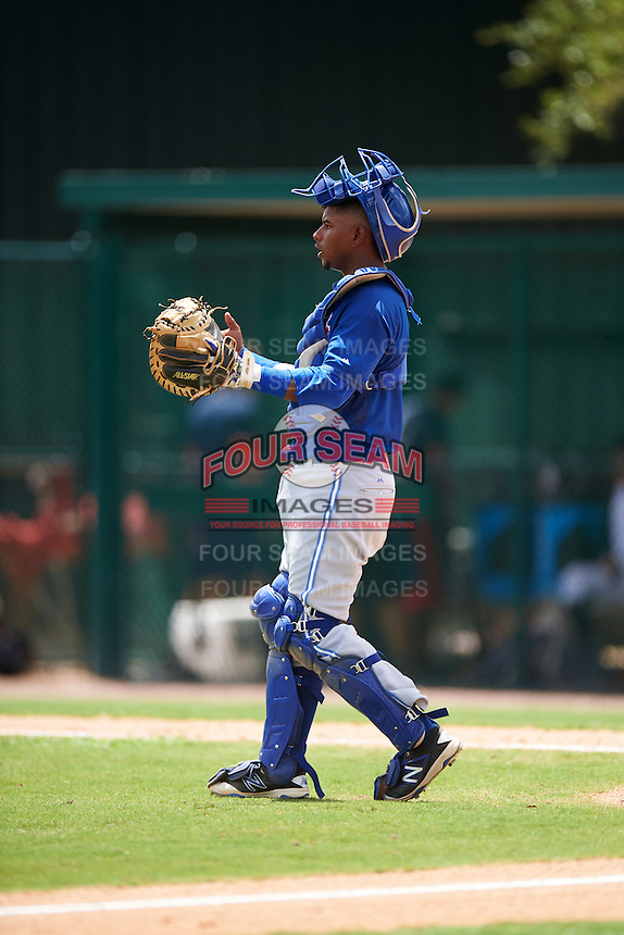 GCL Blue Jays catcher Manuel Herazo (9) during a game against the GCL Braves on August 5, 2016 at ESPN Wide World of Sports in Orlando, Florida.  GCL Braves defeated the GCL Blue Jays 9-0.  (Mike Janes/Four Seam Images)