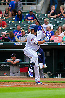 Iowa Cubs outfielder Bijan Rademacher (24) at bat during a Pacific Coast League game against the Colorado Springs Sky Sox on June 22, 2018 at Principal Park in Des Moines, Iowa. Iowa defeated Colorado Springs 4-3. (Brad Krause/Four Seam Images)