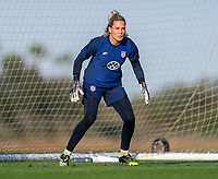 ORLANDO, FL - JANUARY 21: Ashlyn Harris #18 of the USWNT looks to the ball during a training session at the practice fields on January 21, 2021 in Orlando, Florida.