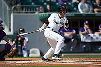 Michael Turconi (6) of the Wake Forest Demon Deacons follows through on his swing against the Furman Paladins at BB&T BallPark on March 2, 2019 in Charlotte, North Carolina. The Demon Deacons defeated the Paladins 13-7. (Brian Westerholt/Four Seam Images)