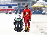 Nov 15, 2015; Pomona, CA, USA; NHRA pro stock motorcycle rider Shawn Gann during the Auto Club Finals at Auto Club Raceway at Pomona. Mandatory Credit: Mark J. Rebilas-USA TODAY Sports