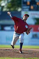 Mahoning Valley Scrappers pitcher Jose Zapata (51) delivers a pitch during the second game of a doubleheader against the Batavia Muckdogs on July 2, 2015 at Dwyer Stadium in Batavia, New York.  Mahoning Valley defeated Batavia 3-0.  (Mike Janes/Four Seam Images)