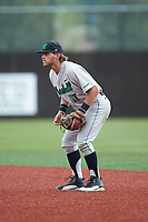 Marshall Thundering Herd second baseman Aaron Bossi (17) on defense against the Charlotte 49ers at Hayes Stadium on April 23, 2016 in Charlotte, North Carolina. The Thundering Herd defeated the 49ers 10-5.  (Brian Westerholt/Four Seam Images)