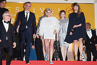 director Olivier Assayas, actress Kristen Stewart, actress Nora von Waldstaetten, Sigrid Bouaziz - CANNES 2016 - DESCENTE DU FILM 'PERSONAL SHOPPER'