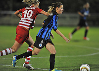 20131001 - VARSENARE , BELGIUM :  Antwerp Sophie Mannaert (left) pictured with Brugge's Nicky Van Den Abbeele (right) during the female soccer match between Club Brugge Vrouwen and Royal Antwerp FC Ladies , of the fifth matchday in the BENELEAGUE competition. Tuesday 1 October 2013. PHOTO DAVID CATRY