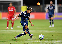 LAKE BUENA VISTA, FL - JULY 26: Jesús Medina of New York City FC passes the ball during a game between New York City FC and Toronto FC at ESPN Wide World of Sports on July 26, 2020 in Lake Buena Vista, Florida.