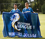 Richard Foster and Lee McCulloch with the SPFL League One flag to be flown prior to the match on Sunday