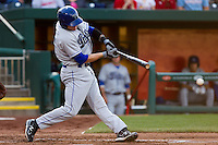 Scott Beerer (15) of the Tulsa Drillers hits a ground ball during a game against the Springfield Cardinals on April 29, 2011 at Hammons Field in Springfield, Missouri.  Photo By David Welker/Four Seam Images.
