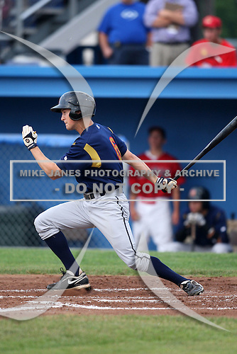 State College Spikes outfielder Justin Bencsko (6) at bat during a game vs. the Batavia Muckdogs at Dwyer Stadium in Batavia, New York June 26, 2010.   State College defeated Batavia 9-8.  Photo By Mike Janes/Four Seam Images